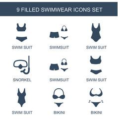 9 swimwear icons vector