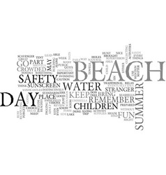 A day at the beach text word cloud concept vector