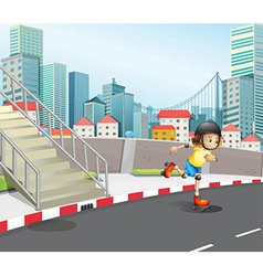 A young girl skateboarding at the road vector