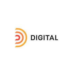 abstract digital icon orange semicircle letter d vector image