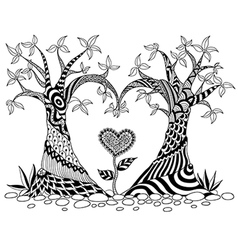 Abstract trees in heart shape line art design for vector