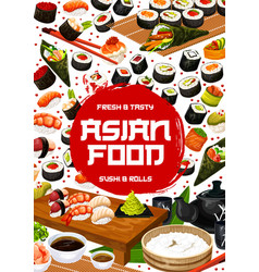 Asian cuisine japanese sushi bar menu vector