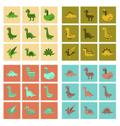 Assembly flat icons cartoon dinosaur vector
