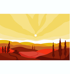 Autumn landscape valley and mountains on sunset vector