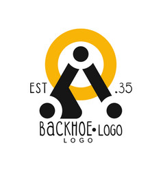 Backhoe logo design estd 1935 excavator vector