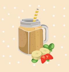 banana smoothie fresh drink retro style vector image