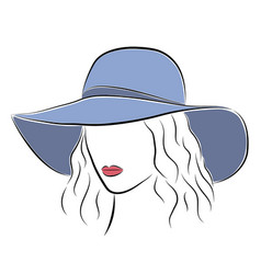 Beautiful elegant lady in the blue wide-brimmed vector