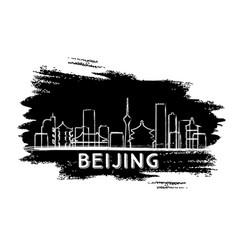 Beijing skyline silhouette hand drawn sketch vector