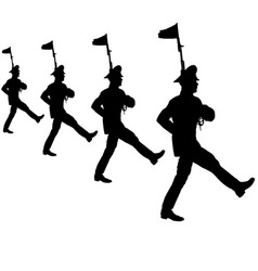 black silhouette soldier is marching with arms on vector image