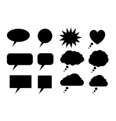 black speech bubbles silhouettes vector image