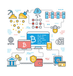 blockchain and internet cryptocurrency transaction vector image