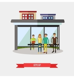 Bus stop concept flat design vector image