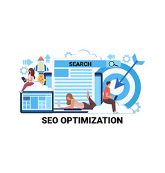 Business people using gadget seo search engine vector