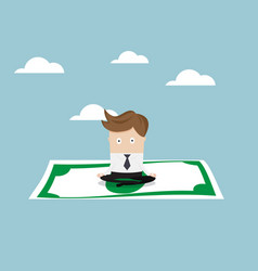 Businessman sitting on money and flying to sky vector
