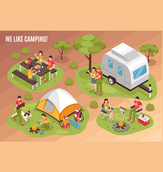 camping barbecue isometric set vector image