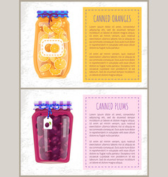 canned plums and oranges in glass jar scrap labels vector image