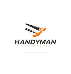 carpentry logo with hammer and saw vector image