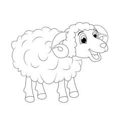 Cartoon outline ram design isolated on white vector