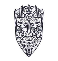 Carving ethnic wooden mask face totem vector