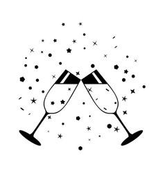Champagne celebratory glasses black vector