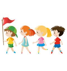 Children walking in line vector