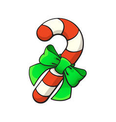 christmas candy cane with ribbon bow-knot vector image