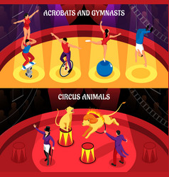 circus professions isometric banners vector image