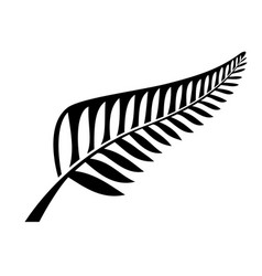 Classic nz silver fern icon emblem black and white vector