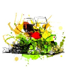 Colored hand sketch still life with glasses of vector image