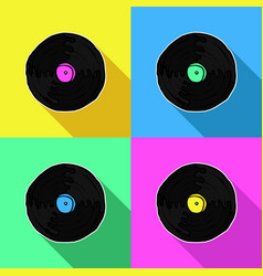 colorful retro music vinyl pop art vector image