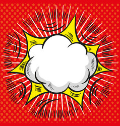 comic speech cloud with red explosion and rays on vector image