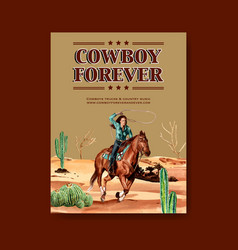 Cowboy poster design with cowgirls cactus vector