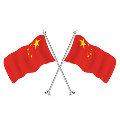 crossed flags china isolated wave flags vector image