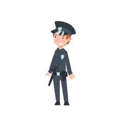 cute boy dressed as police officer kids future vector image
