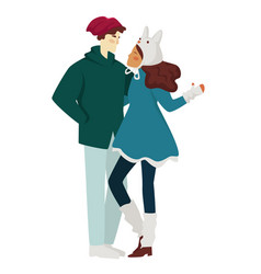 cute couple on a winter romantic date outdoors vector image
