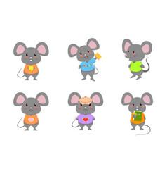 Cute mouse rat mice standing cartoon set vector