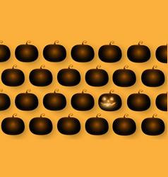 dark cute halloween pumpkins isolated on orange vector image