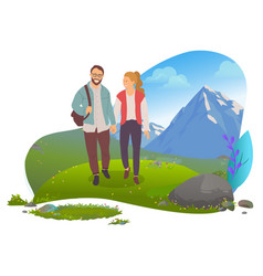 date in mountains couple hiking man and woman vector image