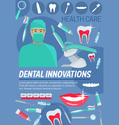 dental innovations doctor and dentistry tools vector image