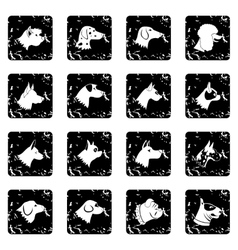 Dog set icons grunge style vector