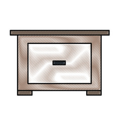 Drawing bedside table wooden furniture room vector