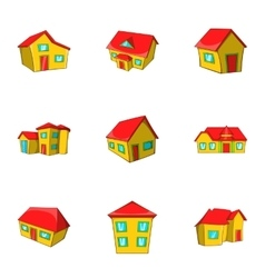 Dwelling icons set cartoon style vector image
