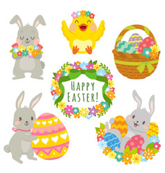 easter animals clip art set vector image