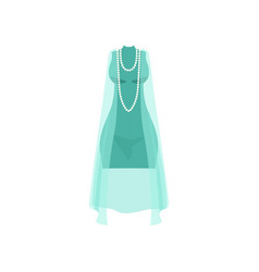 elegant light blue dress with beads fashion women vector image