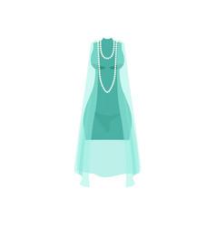 Elegant light blue dress with beads fashion women vector