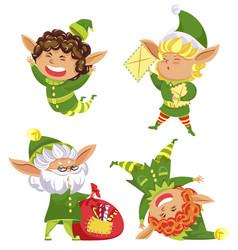 elves and bag filled with candies set dwarfs vector image