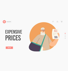 Expensive prices landing page template upset male vector