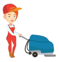Female worker cleaning store floor with machine vector