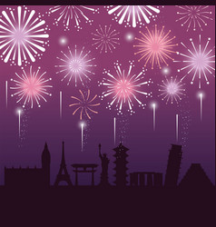 Firework decoration night city to event vector