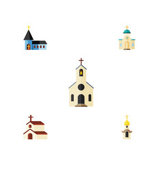 flat icon church set of structure building vector image